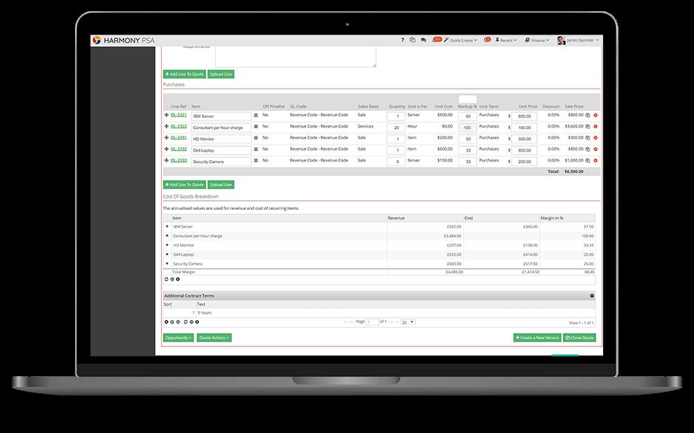 order invoicing screenshot HarmonyPSA